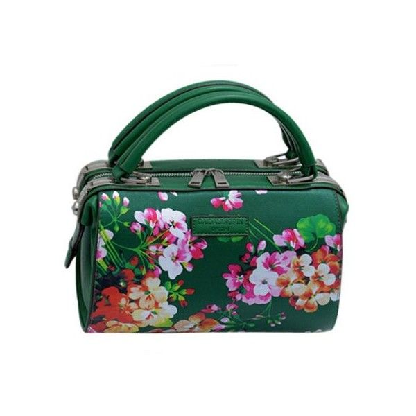 Elegant Women's Tote Bag With Flower Print and PU Leather Design ❤ liked on Polyvore featuring bags, handbags, tote bags, handbags tote bags, floral print purse, green tote bag, green tote purse and floral handbags