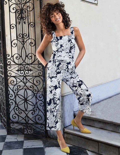 Searching for an effortless evening outfit? Sorted – just slip on this stylish jumpsuit. It features wideleg cropped trousers to keep you cool in warmer climes, while the fitted bodice streamlines and sculpts. Add a pair of statement earrings and you're ready to go.