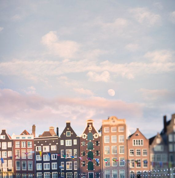Amsterdam Photography - Moonrise Over the Damrak, Fine Art Photograph, Travel Wall Decor, Large Wall Art