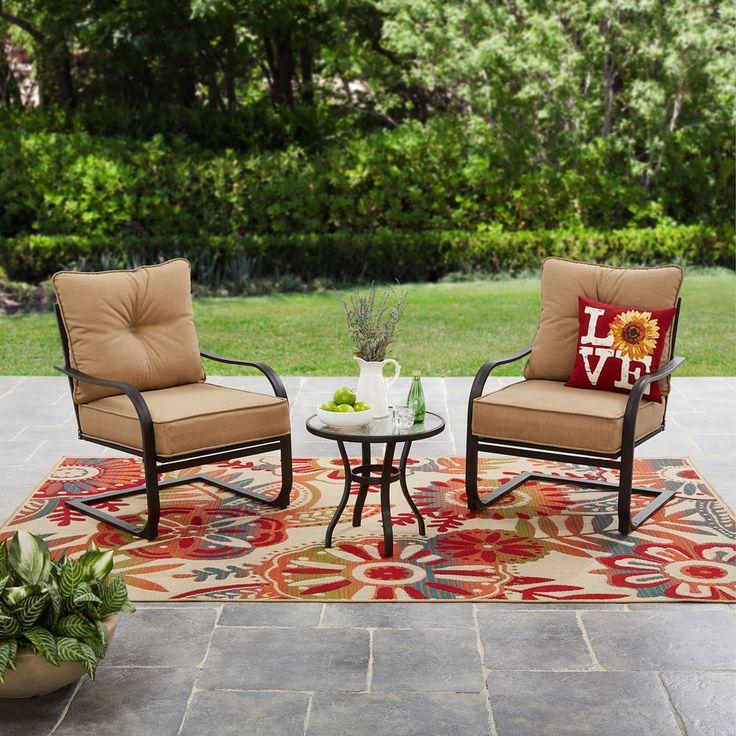 Patio Conversation Set 3 Piece Tan Outdoor Bistro Backyard Home Garden Furniture #Mainstays