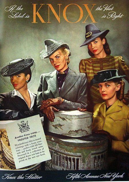 Knox Hat advertisement from Harper's Bazaar, September 1942
