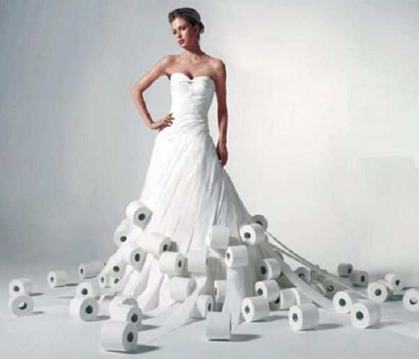 Toilet-Roll-Dress This is a cheap option but what if it rains?