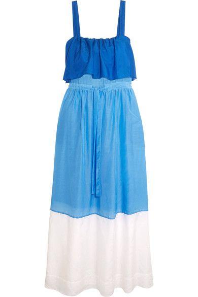 Diane von Furstenberg - Color-block Cotton And Silk-blend Maxi Dress - Azure - x small