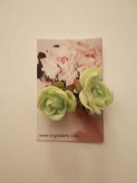 Orecchini rosa in tessuto -verde mela di sogni d'arte by adalgisa su DaWanda.com