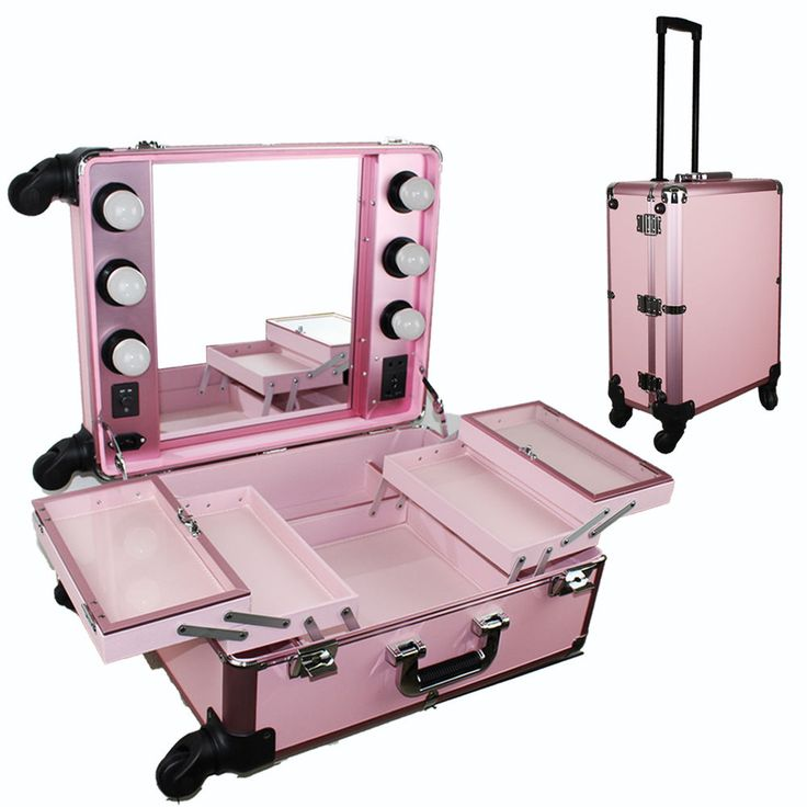 Pink Pro Studio Artist Train Rolling Makeup Case with Light Wheeled Organizer #unbranded