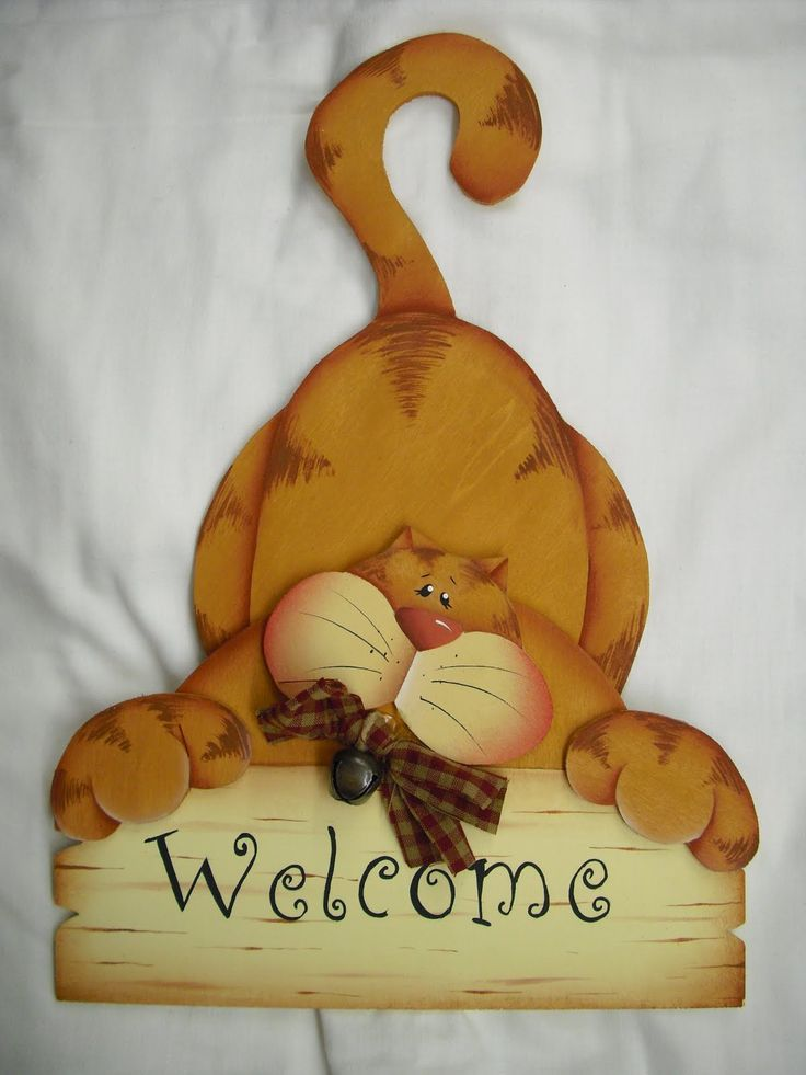 Cute cat welcome sign