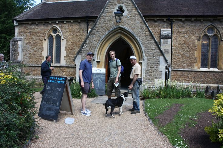 Wey & Arun Canal Trust 2014 Poddle (sponsored walk). Lunch stop at Shalford church, Surrey