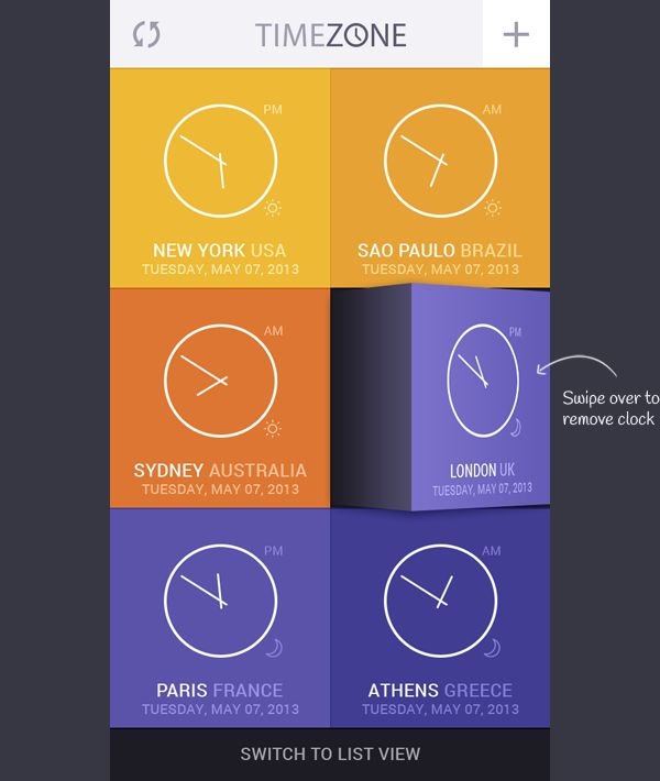 Time Zone App Concept on Behance