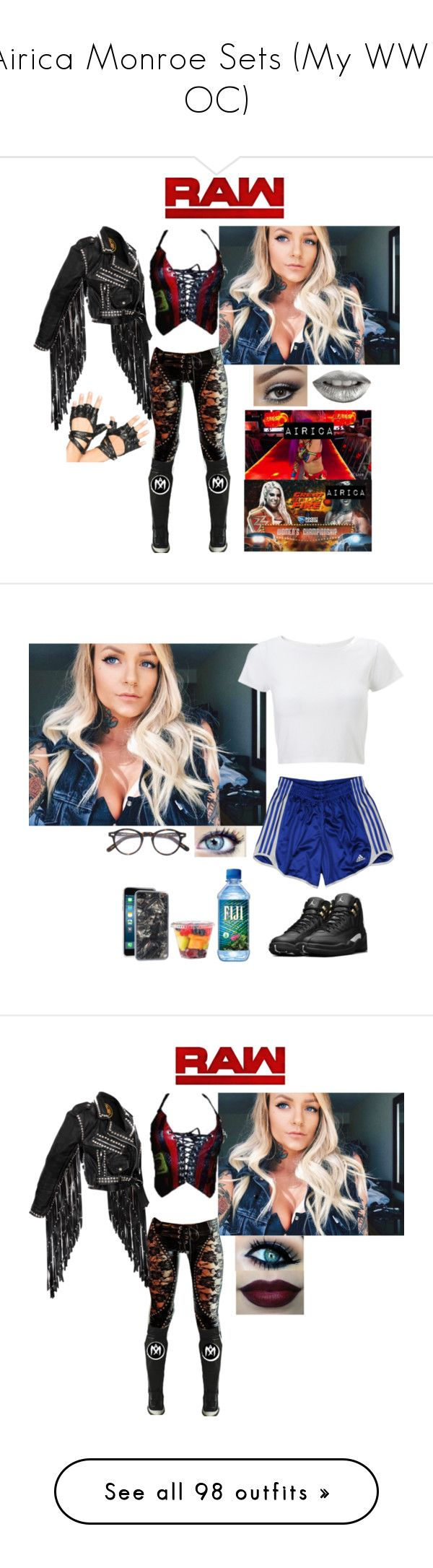 """Airica Monroe Sets (My WWE OC)"" by atomic-blaster ❤ liked on Polyvore featuring Leg Avenue, Urban Decay, Lipsy, adidas, NIKE, Moscot, Zero Gravity, Killstar, Dr. Martens and Alexis Bittar"