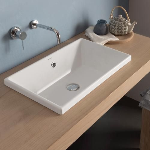 Globo STOCKHOLM drop-in washbasin white