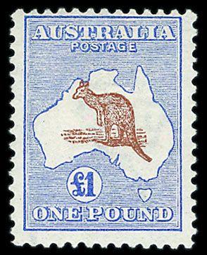 Australia 1915-27 £1 chestnut and bright blue, fresh M very fine (SG 44a) Cat £3000