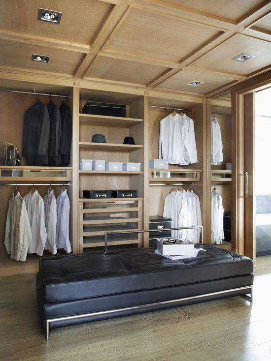love the paneled ceiling in this walk-in closet