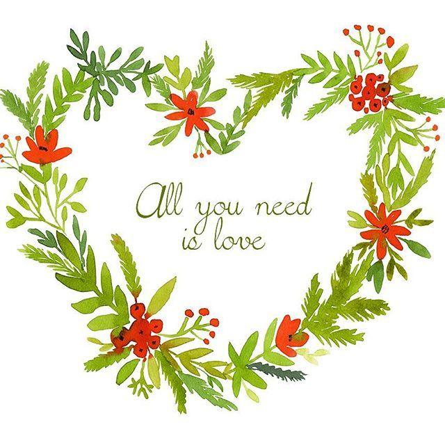 #watercolor #wreath #heart #valentine #love #frame #card #14february #14february2016 #allyouneedislove #handdrawn #painting #акварель #рисую #сердце #рамка #венок #открытка #поздравления #деньвлюбленных #14февраля