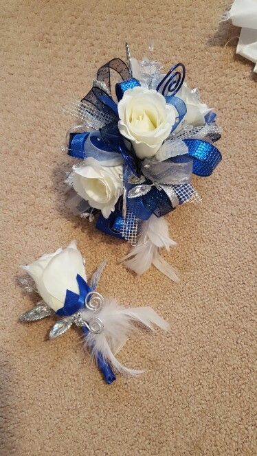 Royal blue and silver prom corsage from Hen House Designs www.henhousedesigns.net