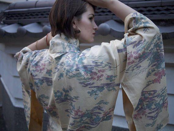 Cream Vintage Kimono, Japanese Robe