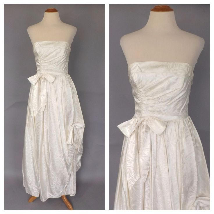 Vintage 1960s Ball Gown White Damask Cocktail Dress 60s Wedding Dress Strapless Sculpture Gown Size Small Mad Men Grace Kelly Vintage Bride by alicksandraflin on Etsy https://www.etsy.com/listing/239552848/vintage-1960s-ball-gown-white-damask