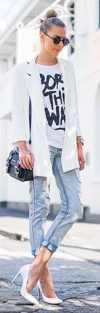 Vintage Blue Denim Cuffed Jeans