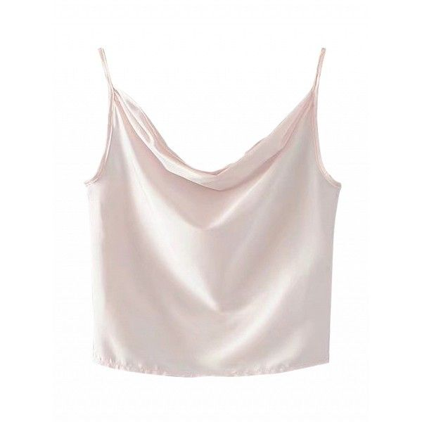 Choies Pink Satin Look Drape Front Cami Top ($12) ❤ liked on Polyvore featuring tops, pink, camisole tank top, camisole tops, cami tank, pink top and satin cami top