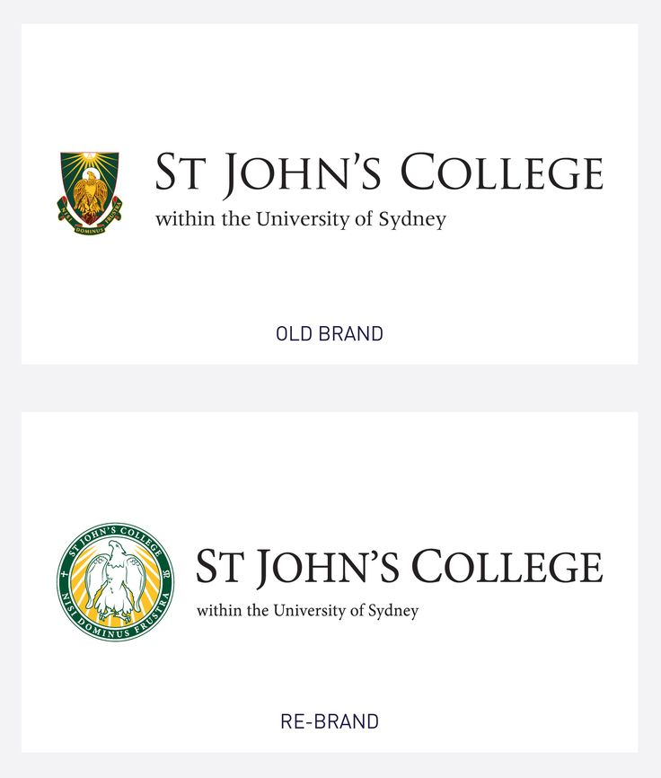 Rebrand for St John's College, USYD, including a logo redesign that incorporates the existing eagle motif with clean lines and refreshed colours.