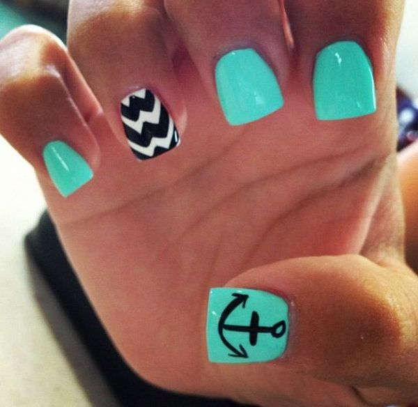 Green Nails with an Anchor Accented.