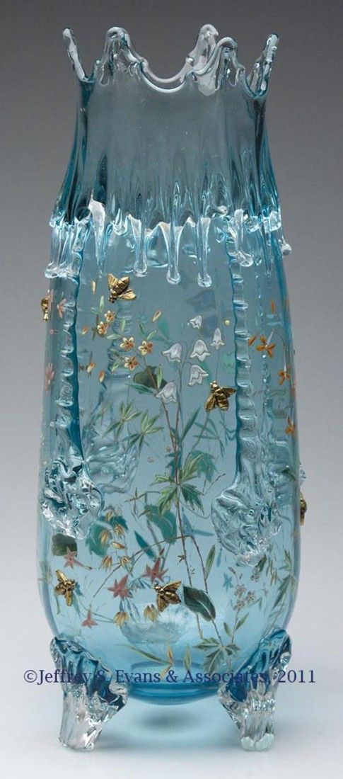 """MOSER DECORATED ICICLE LARGE VASE, pale blue, polychrome enamel floral decoration with ten applied gold bees, raised on three applied feet, polished pontil mark. Early 20th century. 15 1/2"""" H."""