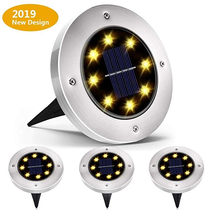 4 pack Solar Ground Lights,Garden Pathway Outdoor In-Ground Lights With 4 LED