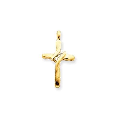 14k Yellow Gold H/I1 Quality Diamond Cross Pendant