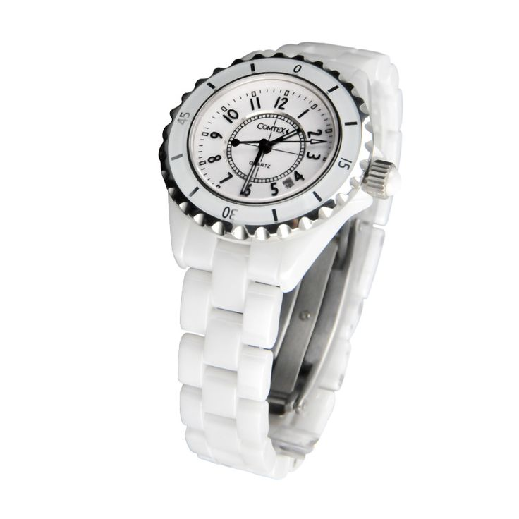 COMTEX Fashion Women Watch luxury Ceramic Wristwatch Analog Janpanse Quartz Movement Calendar Waterproof White Ceramic for women - Online Shopping for Watches