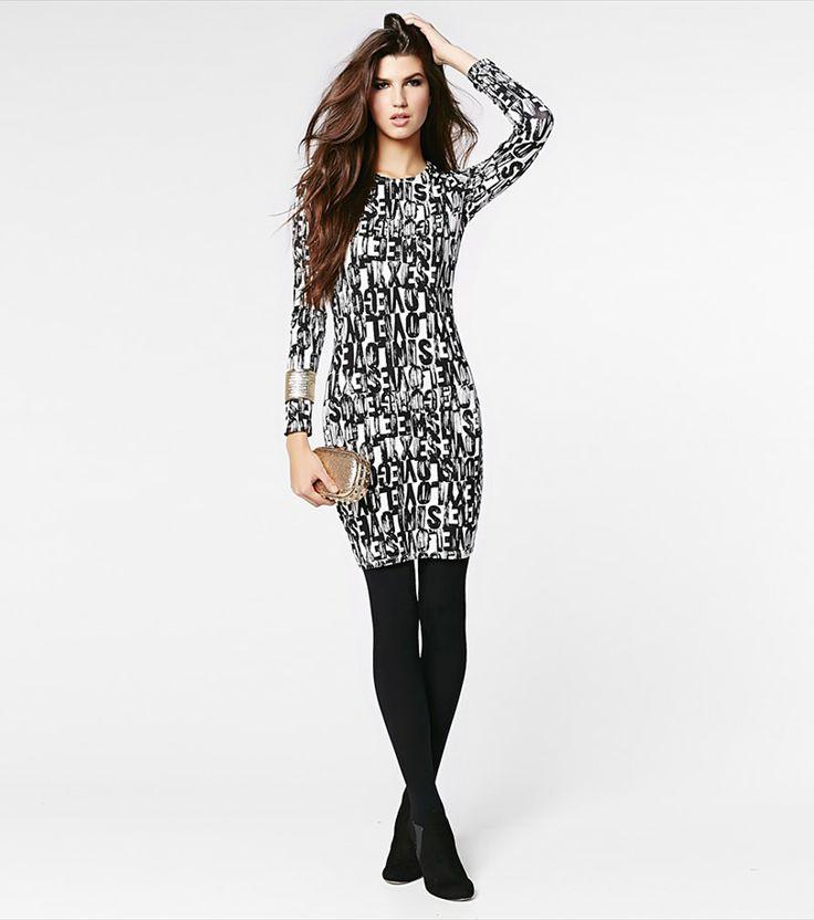 Word Print Long Sleeve Dress