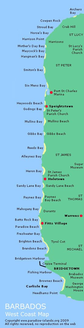 Barbados West Coast - Beaches and places of interest