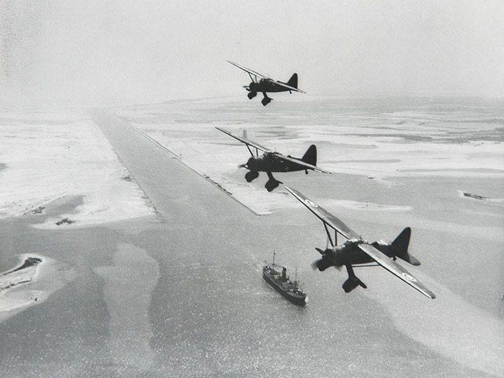 Three RAF Westland Lysanders over Suez canal