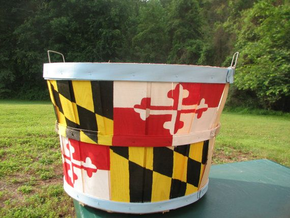 Maryland Flag Hand Painted Bushel Crab Basket. Etsy