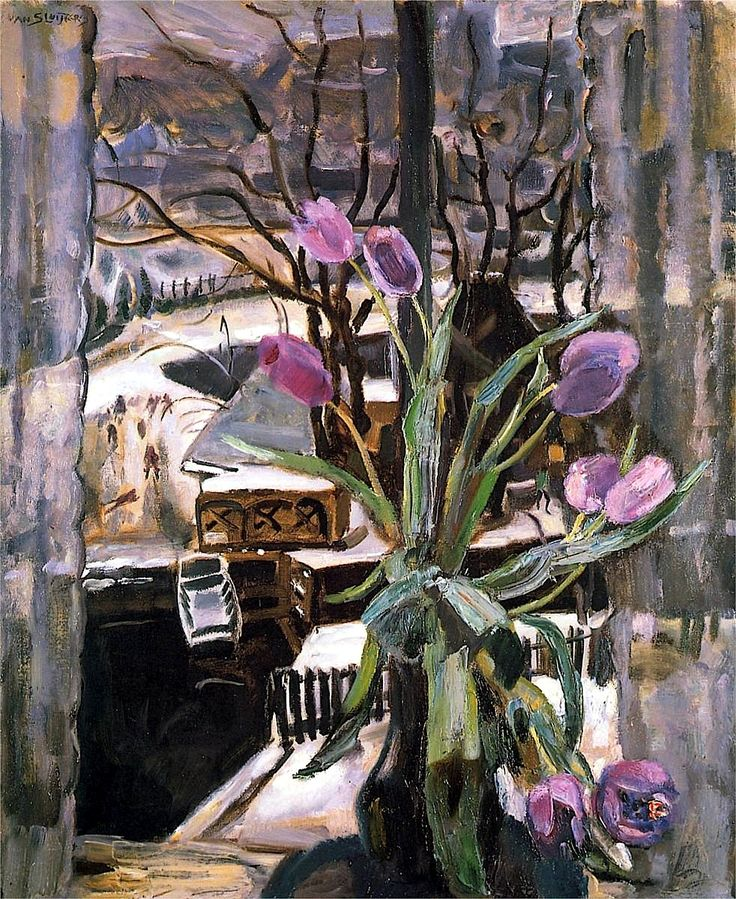 Still life with flowers - Jan Sluyters...could inspire a stained glass design!!!