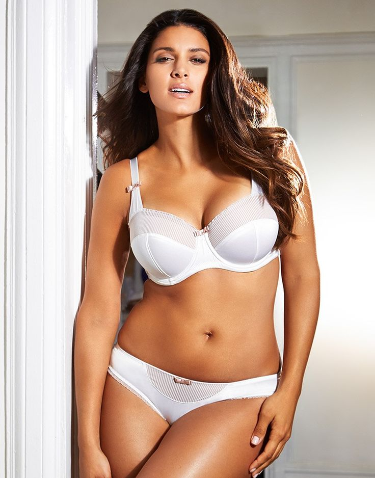 The Santana DD+ White Balconette Bra is made of a ...