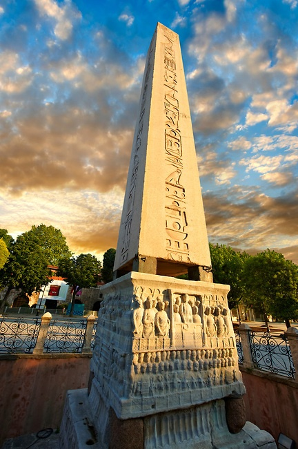 The base of the Egyptian Obelisk of Thutmosis III, (Dikilitas) a centre piece of the Roman Hippadrome, showing Roman Emperor Theodosius offering a laurel wreath to the victor from the Kathisma. Istanbul Turkey #istanbul #turkey