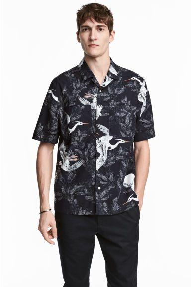 Casual overhemd - Regular fit - Donkerblauw/vogels - HEREN | H&M NL 1