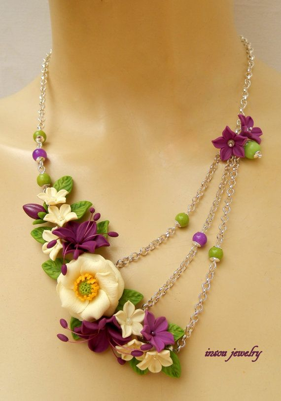 Floral, Flower Necklace, Spring Jewelry, Flower Jewelry, Statement Necklace, Violet Jewelry, Anemone, Windflower, Gift For Her, Flowers  This spring necklace features a delicate vanilla anemone flower, decorated with violet lilies, buttercups and leaves. The necklace is completed with Czech glass beads. Flowers are attached on a silver plated chain, which ends with a lobster clasp.  The necklace adjusts from 50 to 55 cm (19.7 to 21.7 in).  ♥♥ Each flower and leaf is hand sculpted with…