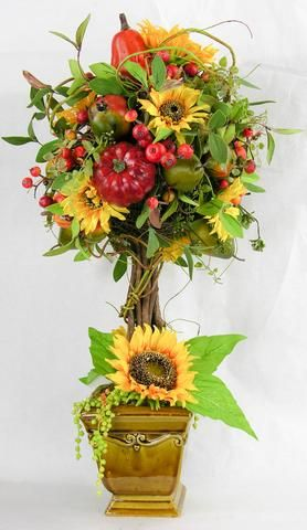 Sunflower Pumpkin Topiary