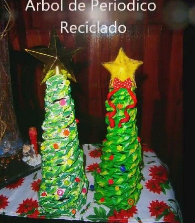 Arbol de navidad hecho con papel periodico kevari - Arbol de papel manualidades ...