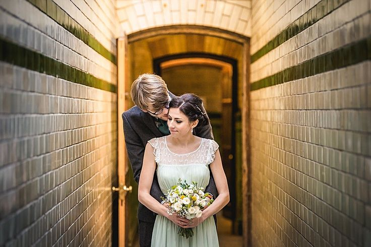 Budget Wedding With Bride In Green Dress And Mimosa By Rachel Simpson Shoes At The Victoria Baths In Manchester With Reception At Greens By Simon Rimmer Images From Andrew Keher Photography