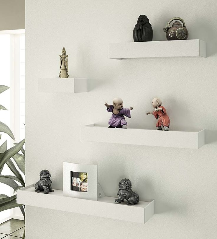 Lovely Home Sparkle White Wooden Shelves   Set Of 4 By Home Sparkle Online   Wall  Shelves