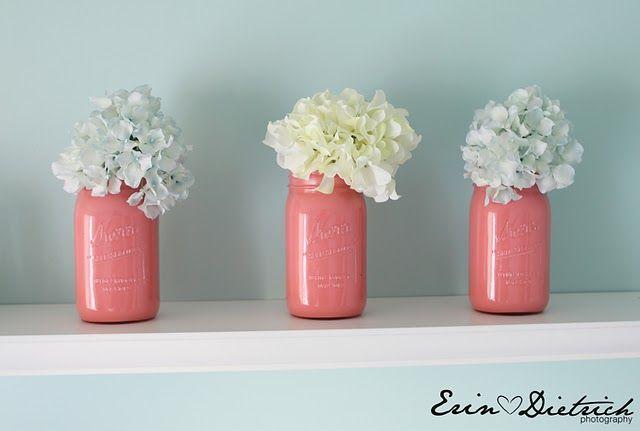 Painted Mason Jars: Paintings Mason Jars, Pinkmasonjars, White Flower, Idea, Color, Pink Mason Jars, Painted Mason Jars, Paintings Jars, Mason Jars Vase