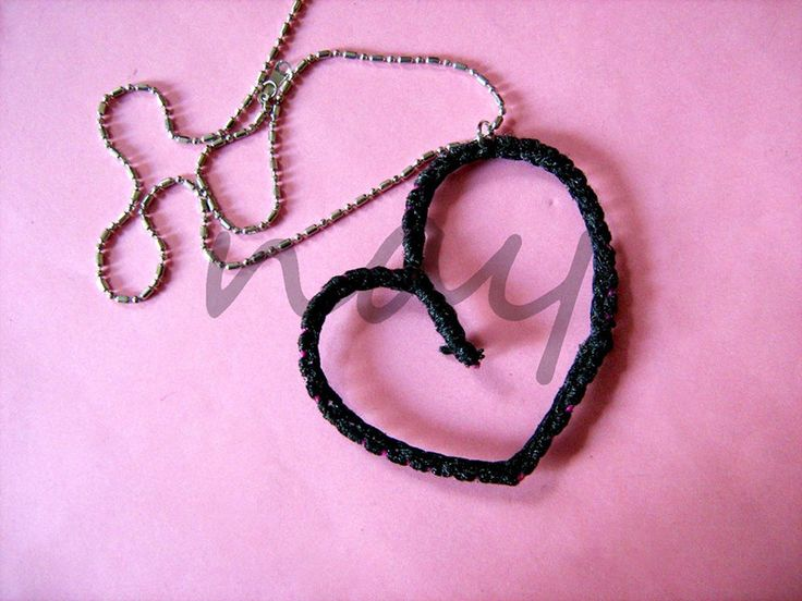 Handmade crochet on wire metal heart necklace NK18 from nay handmade - unique handcrafted accessories by DaWanda.com