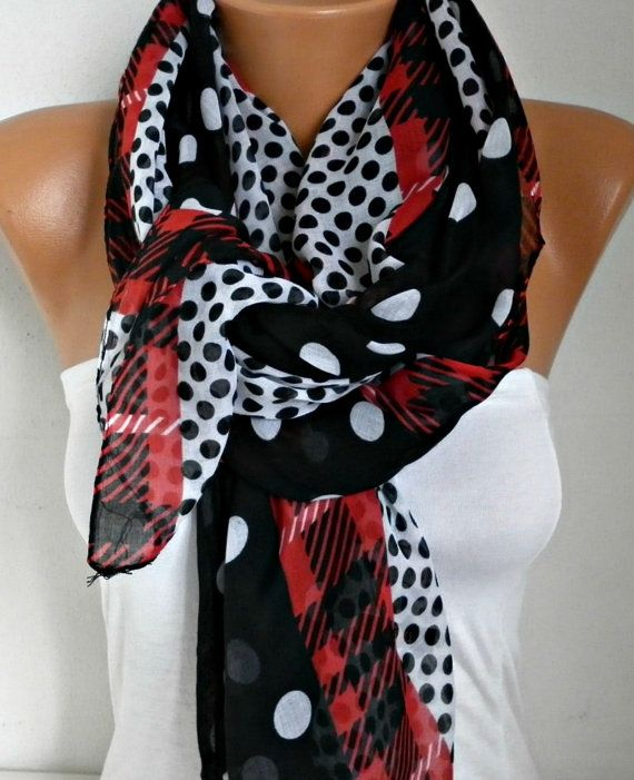 Spring Black Polka Dot Scarf Shawl Oversize Scarf Cowl by fatwoman