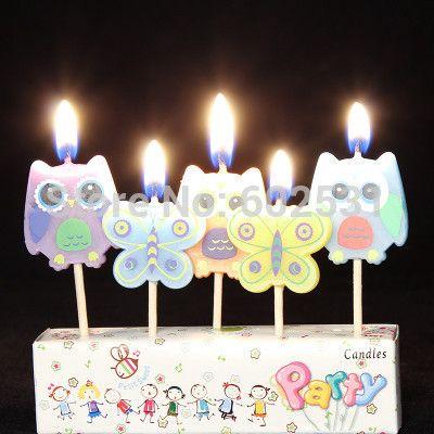 Сова бабочки творческий бездымного торт ко дню рождения свечи письма свечи творческий торт свечи ну вечеринку украшения