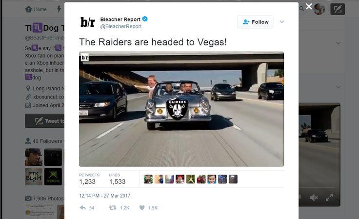 Bleacher Report Verified account  @BleacherReport   The Raiders are headed to Vegas!