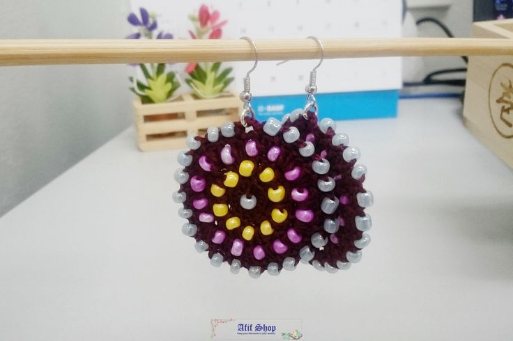 SUPER SALE /Colorful Crochet Earrings /Bead crochet earrings /Boho Earrings /Pierced Earrings /Dangle earrings /Gift for her by AfifShop on Etsy