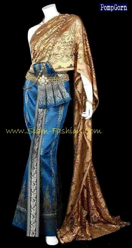 Traditional thai wedding dress blue