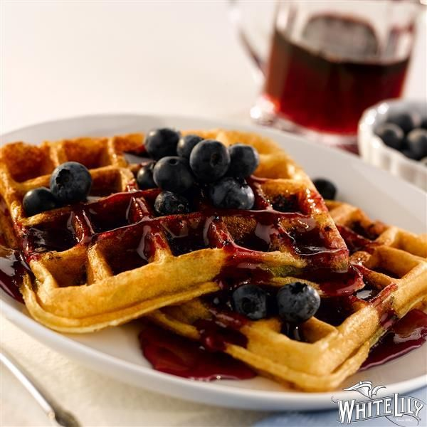 Start your morning with Buttermilk Waffles with Blueberry Syrup from White Lily®