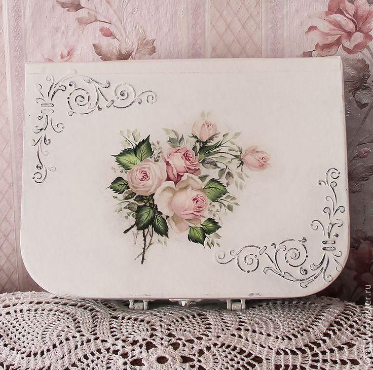 """Купить Чемоданчик """"Розовые сны"""" - белый, шебби-шик, чемоданчик, Декупаж, чемоданчик шебби-шик"""